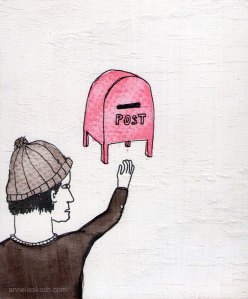 Snail Mail  © 2012. Ink and gesso on plywood.