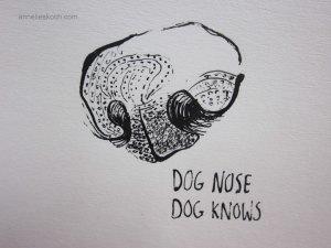 Dog nose  ©  2013. Ink on paper.